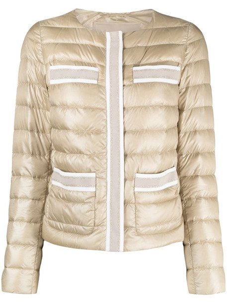 Herno collarless padded jacket in neutrals