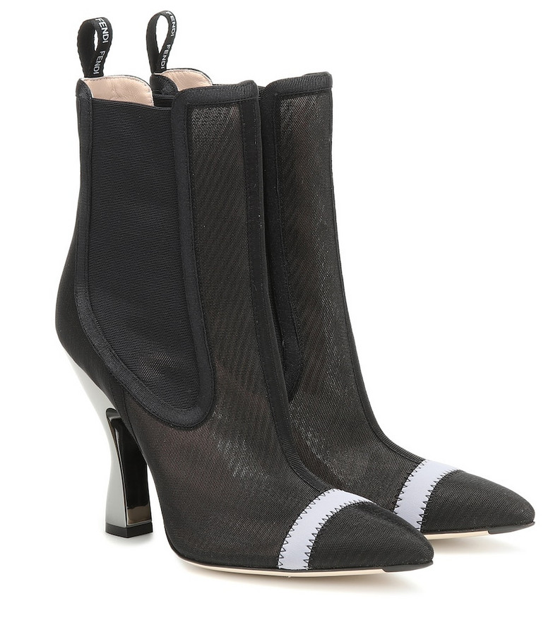 Fendi Colibrì mesh ankle boots in black