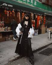 skirt,maxi skirt,black skirt,black leather skirt,black boots,white jacket,puffer jacket,black blazer,black bra,scarf