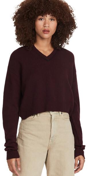 Acne Studios Knit Cashmere Sweater in burgundy