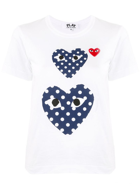 Comme Des Garçons Play heart-print crew neck T-shirt in white