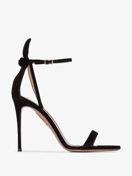 Aquazzura AQUA DENEUVE 105 SDE SNDL W BOW AT HEEL in black