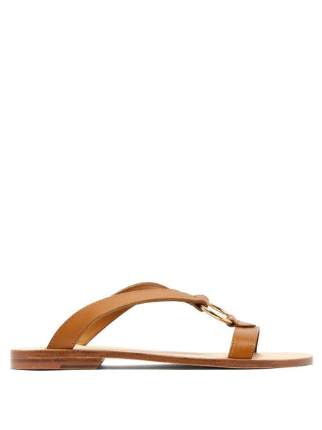 A.P.C. A.p.c. - Norma Cross Over Leather Slides - Womens - Tan