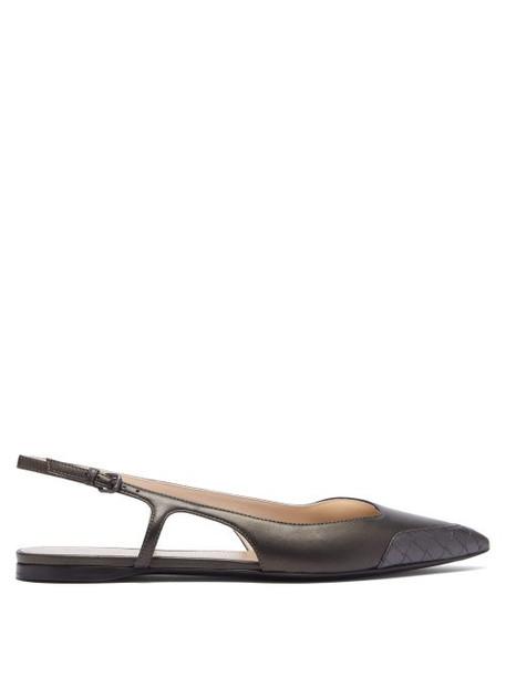 Bottega Veneta - Quilted Trim Leather Flats - Womens - Dark Grey