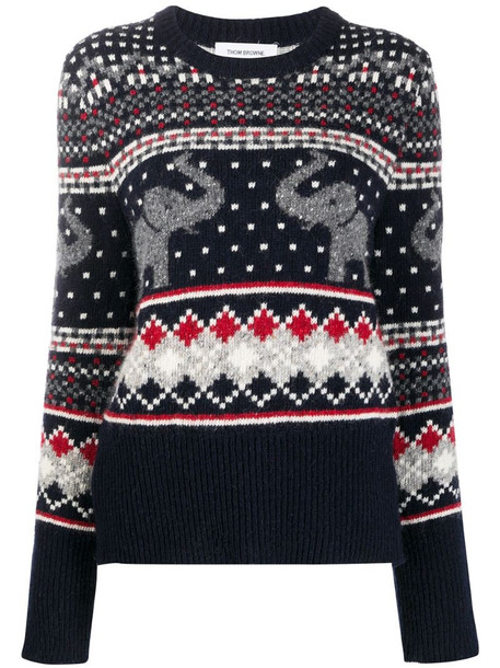 Thom Browne mixed-pattern jumper in blue