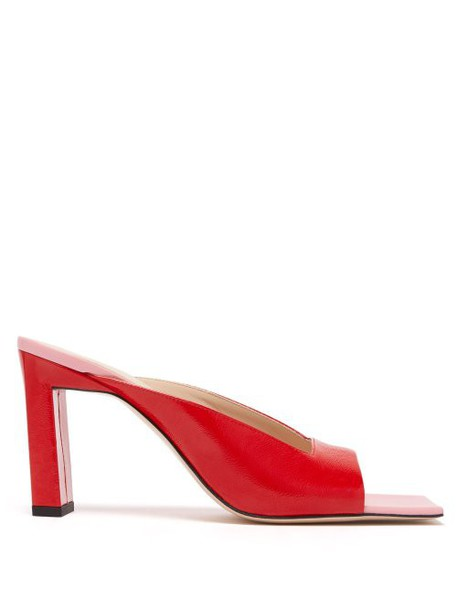 Wandler - Isa Square Open Toe Leather Mules - Womens - Red