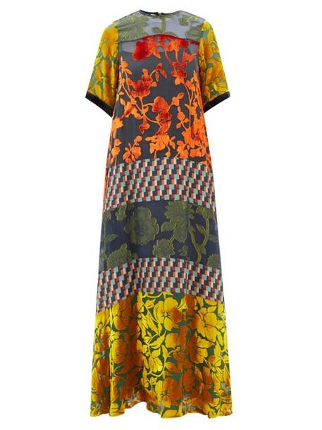 Biyan - Ikkobel Panelled Maxi Dress - Womens - Yellow Multi