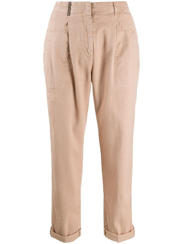 Peserico tapered cropped trousers in brown