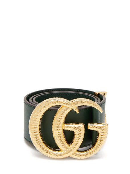 Gucci - Gg Snakeskin Effect Logo Wide Leather Belt - Womens - Green