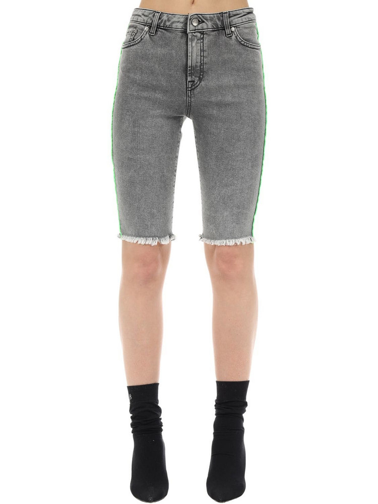 REPRESENT Cotton Blend Denim Riding Shorts in grey