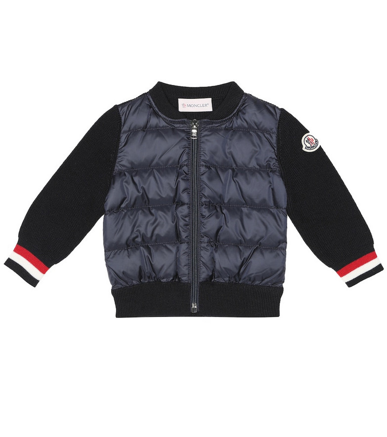 Moncler Enfant Baby down and wool-blend jacket in blue