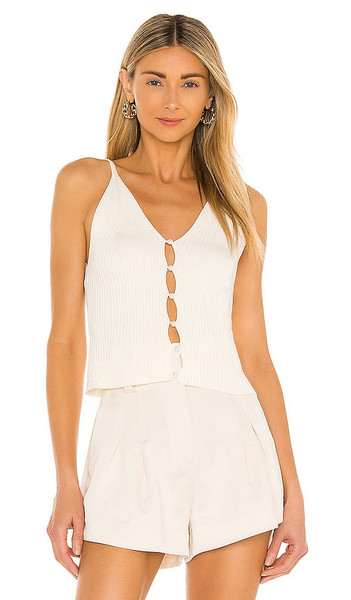 BCBGeneration Cotton Rib Tank in Cream in white