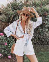 top,striped shirt,High waisted shorts,round bag,sun hat,sunglasses