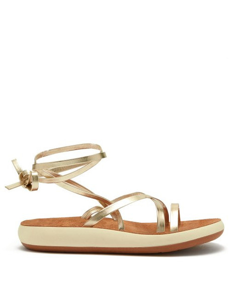 Ancient Greek Sandals - Morfi Comfort Metallic Leather Sandals - Womens - Gold