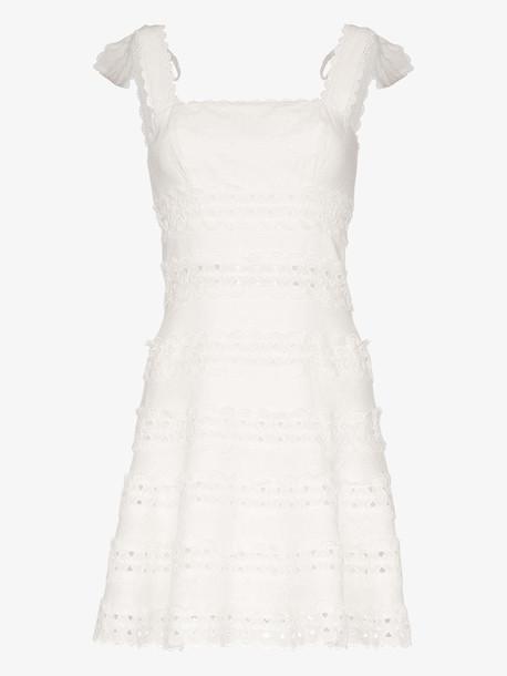 Zimmermann kirra tie shoulder linen mini dress in white