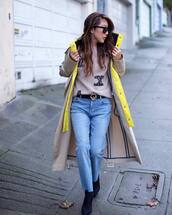 coat,trench coat,long coat,black boots,cropped jeans,fendi,black belt,sweater,max mara
