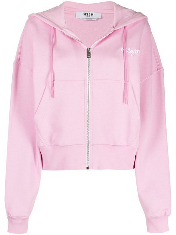 MSGM logo-embroidered zip-up hoodie in pink