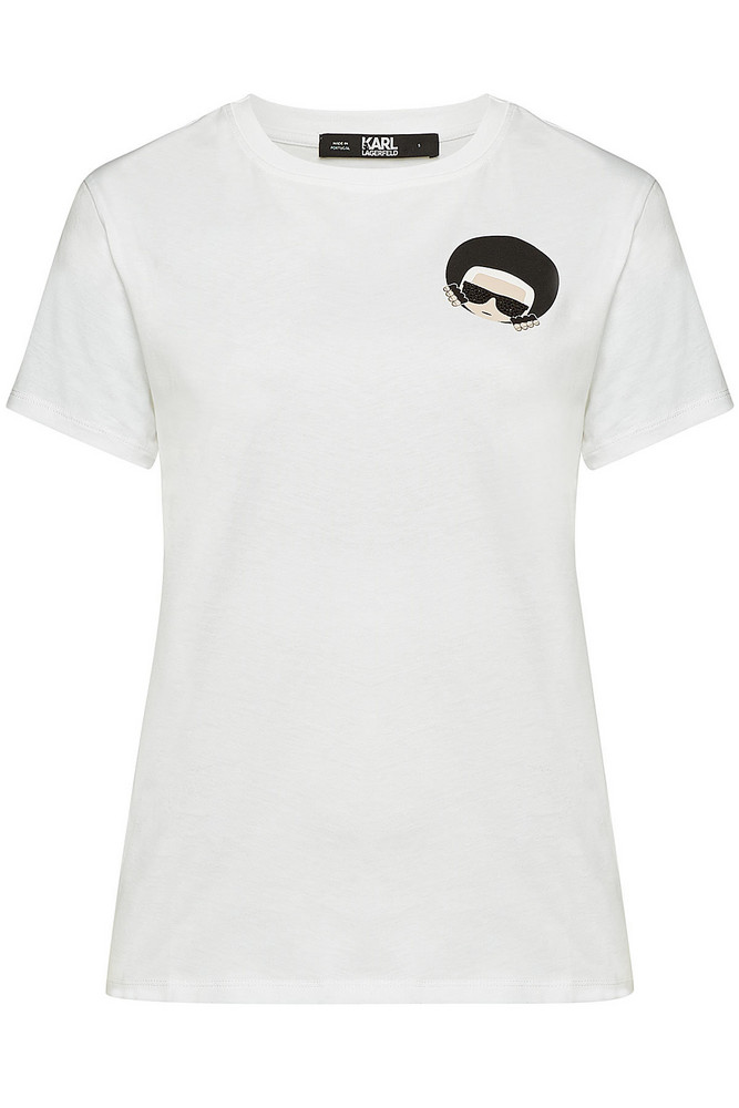 Karl Lagerfeld Karl Dots Ikonik Printed Cotton-T-Shirt with Crystals  in white