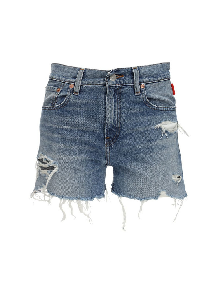 DENIMIST Karen Mid Rise Denim Cutoff Shorts in blue