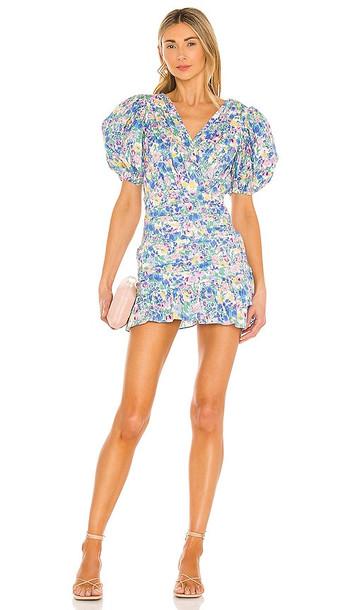 SAU LEE Posey Mini Dress in Blue in multi