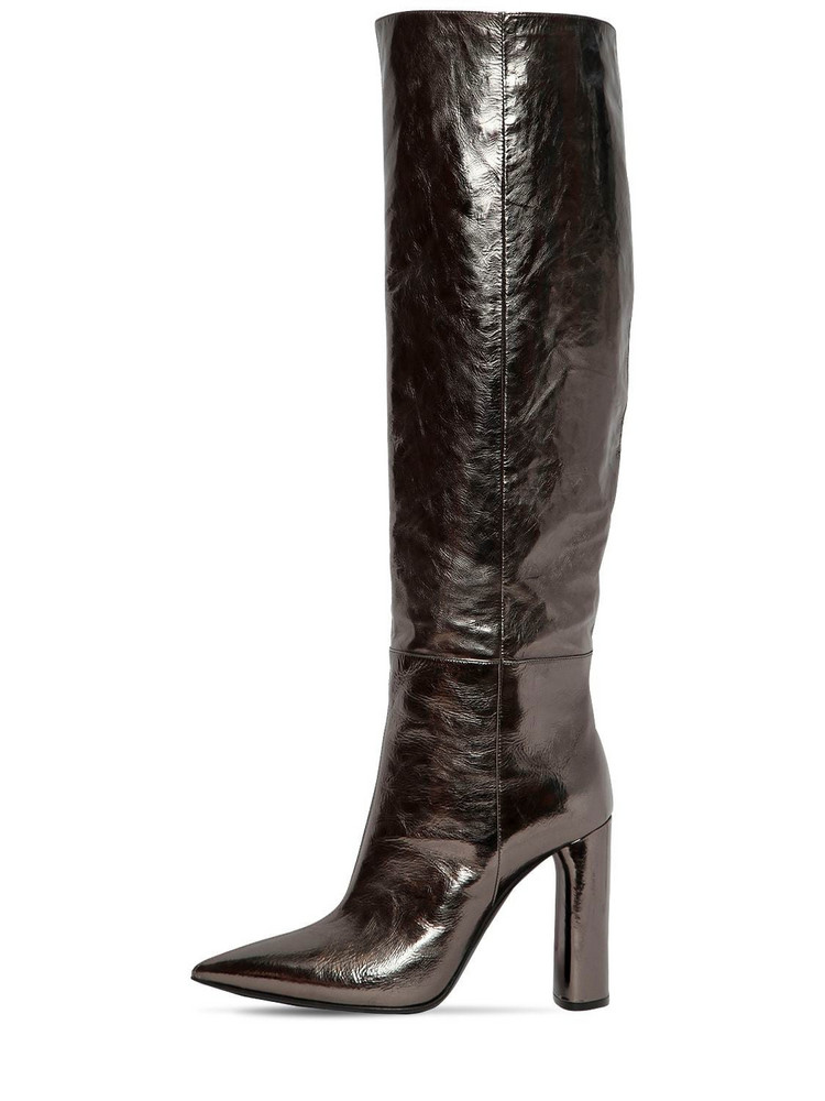 CASADEI 100mm Tall Metallic Leather Boots in silver