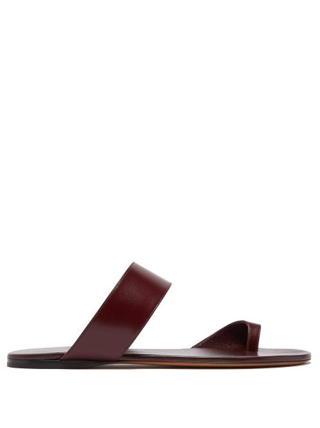 The Row - Infradito Leather Slides - Womens - Burgundy
