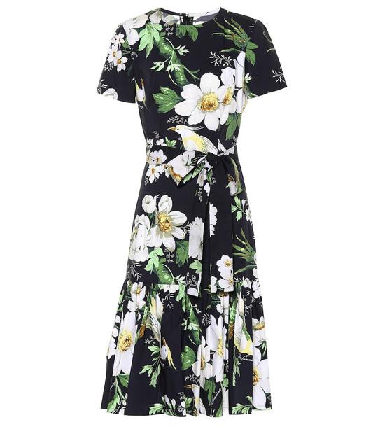 Carolina Herrera Floral stretch-cotton dress in black