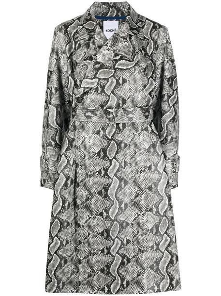 Koché snakeskin-print side-slit coat in grey