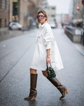 shoes,brown boots,fendi,knee high boots,bucket bag,furry bag,white jacket,oversized jacket