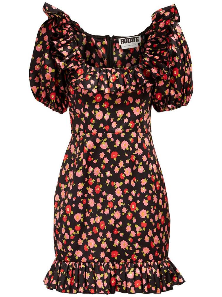 ROTATE Ghita Floral Print Satin Mini Dress in black / multi