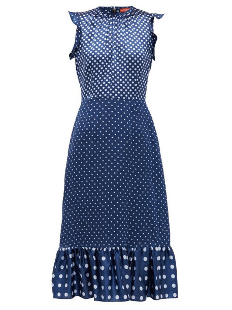 Altuzarra - Rosa Polka-dot Silk-satin Dress - Womens - Blue Multi