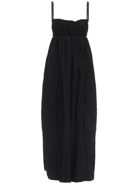 KHAITE Jordyn Plisse Cotton Poplin Dress in black