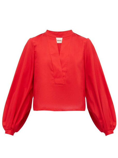 Khaite - Suzanna Cotton Blouse - Womens - Red