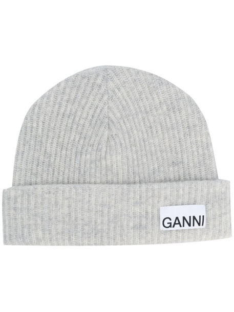 GANNI ribbed-knit hat in grey