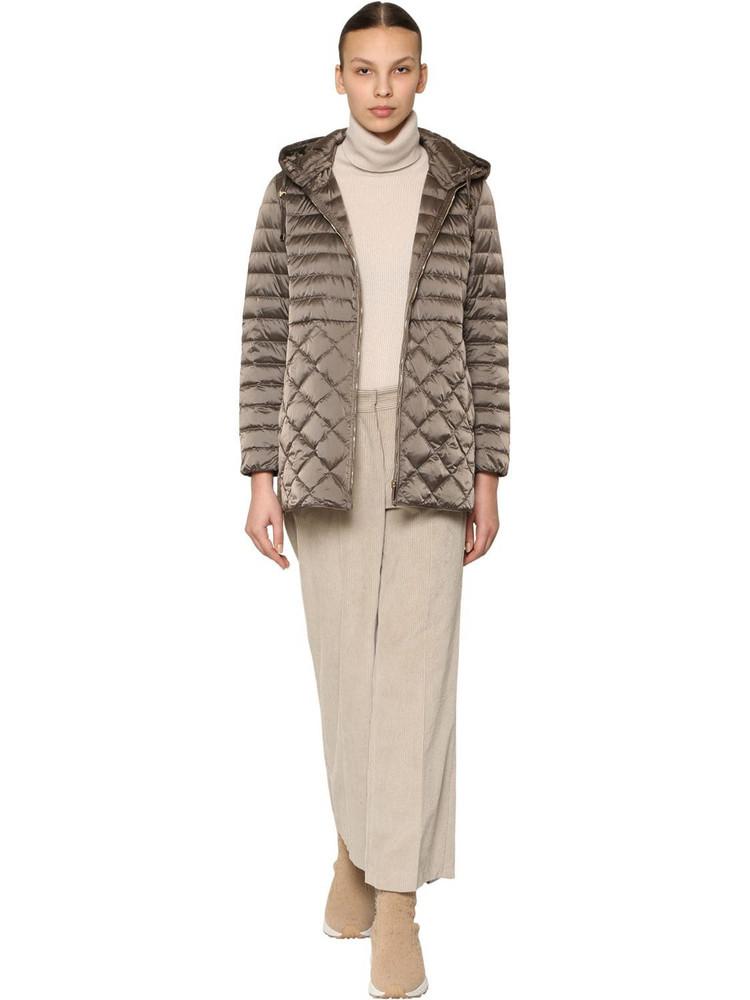 MAX MARA 'S Hooded Nylon Down Coat in brown