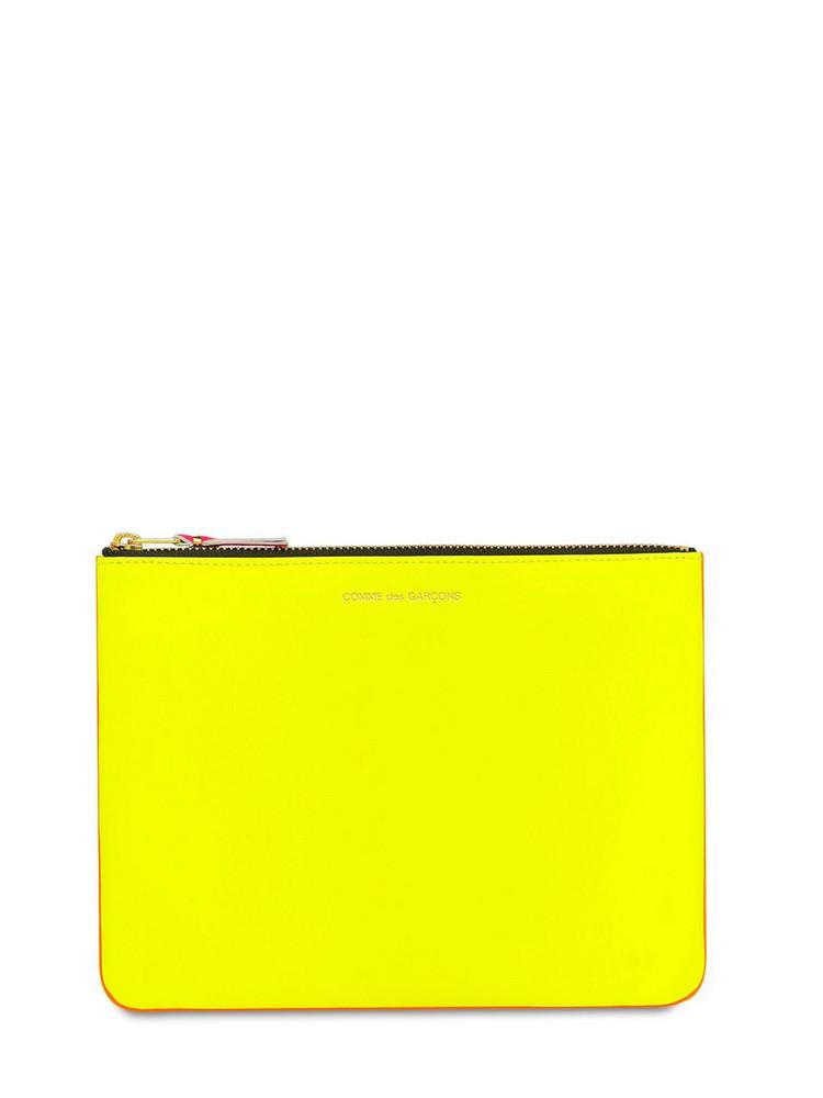 COMME DES GARÇONS WALLET Super Neon Leather Pouch in orange / yellow