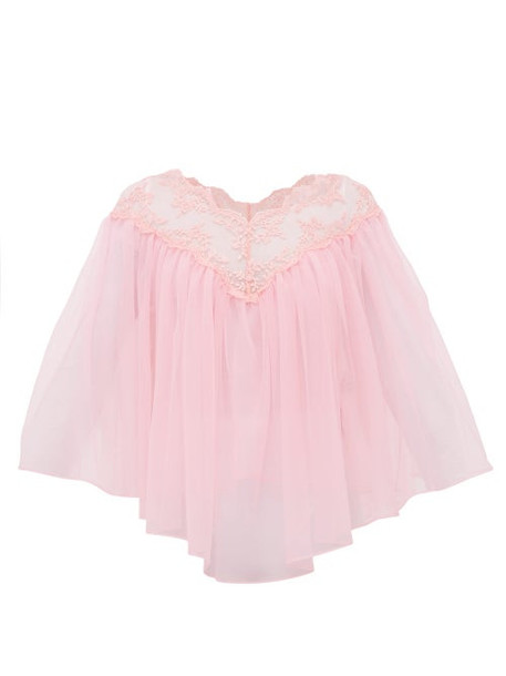 Christopher Kane - Lace Trimmed Tulle Cape Top - Womens - Light Pink