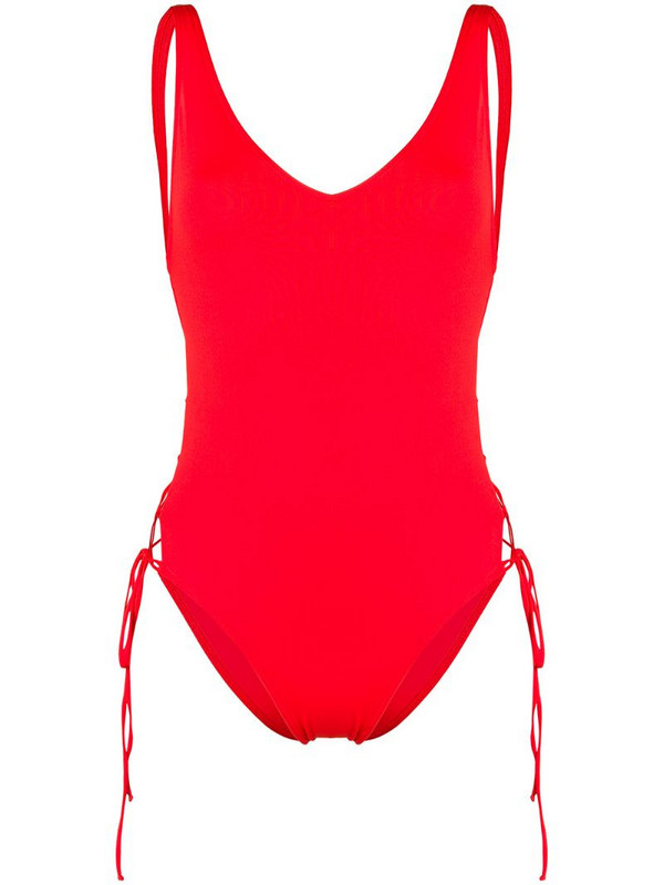 Sian Swimwear lace-up swimsuit in red