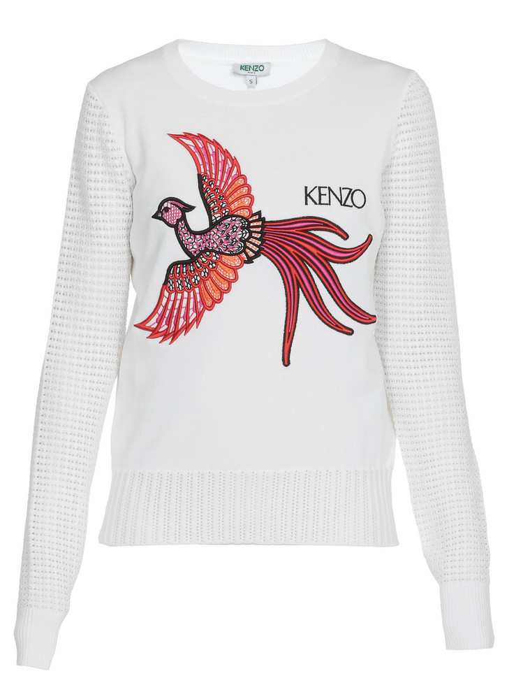 Kenzo Front Embroider Sweater in white