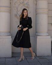 dress,black dress,midi dress,long sleeve dress,sandal heels,bag