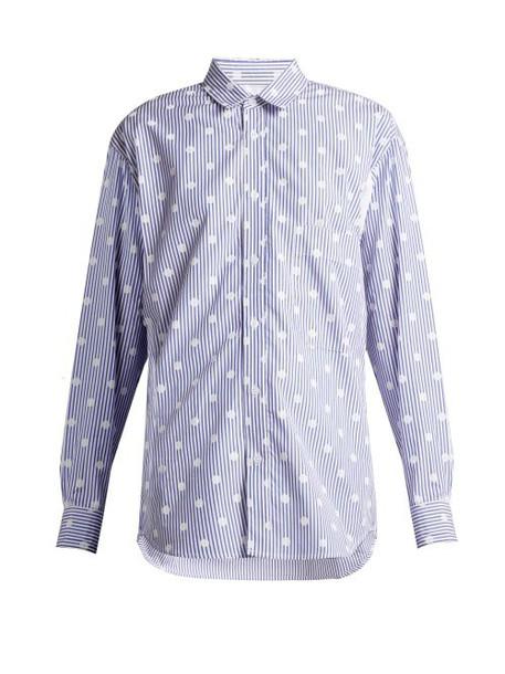 La Fetiche - Nico Polka Dot Printed Striped Cotton Shirt - Womens - Blue White