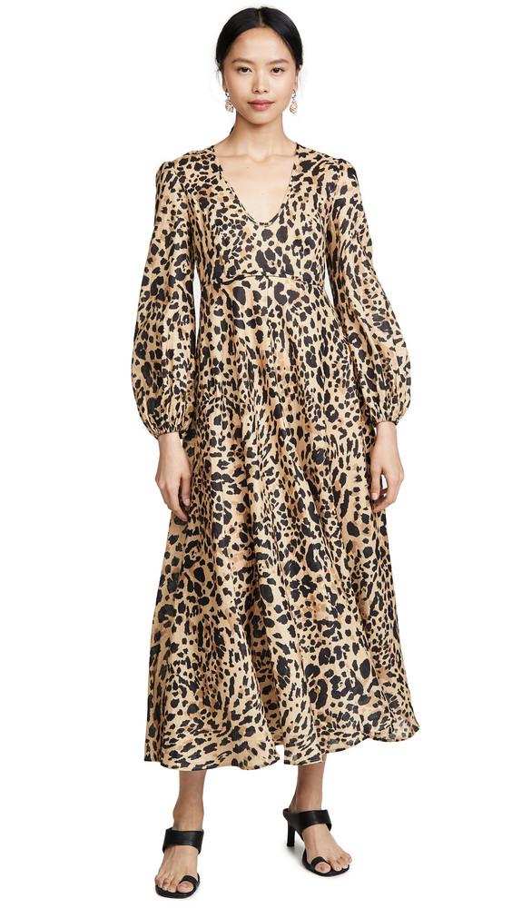 Zimmermann Veneto Plunge Long Dress in leopard