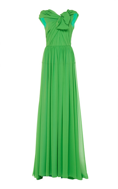 DELPOZO Draped Silk-Georgette Gown Size: 34 in green