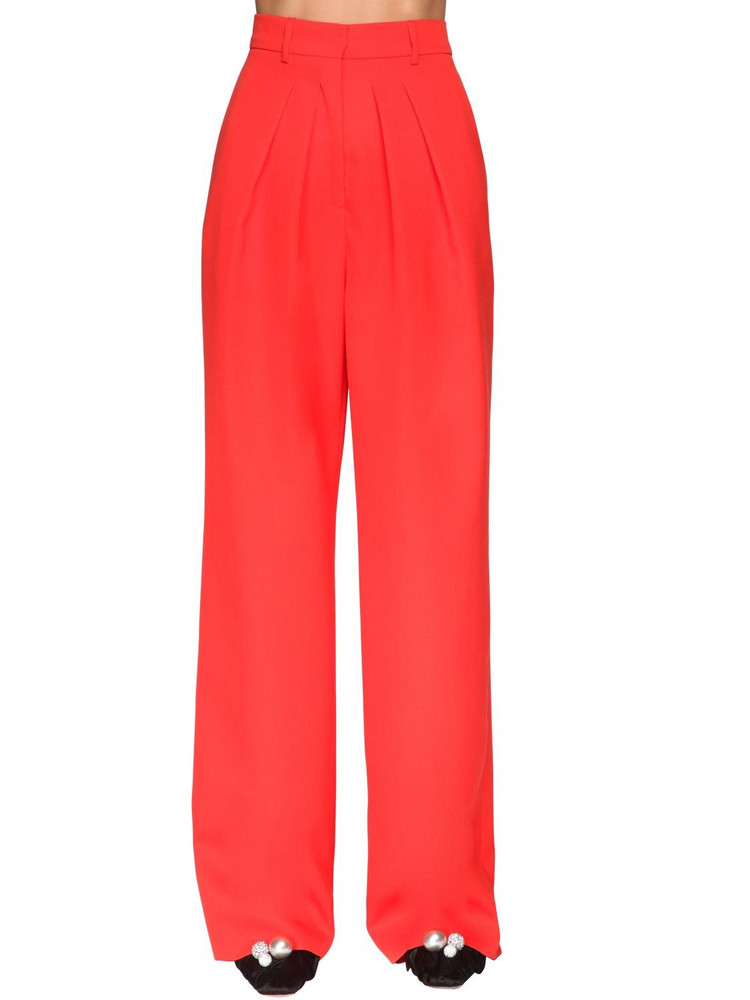 ROCHAS Pleated Cool Wool Pants in red