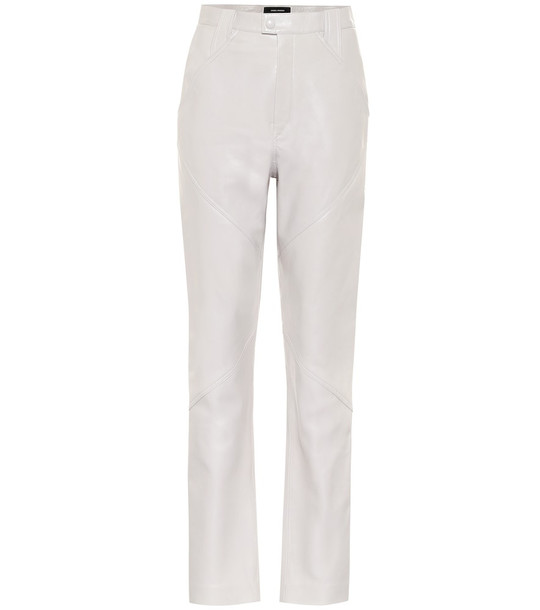 Isabel Marant Xenia high-rise leather pants in grey