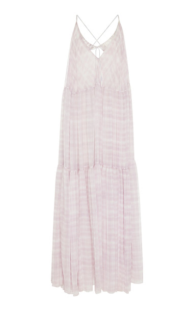 Jacquemus La Robe Mistral Checked Chiffon Maxi Dress Size: 38 in print