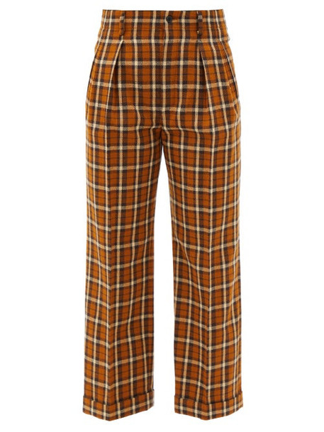 Saint Laurent - High-rise Checked Wool Straight-leg Trousers - Womens - Brown