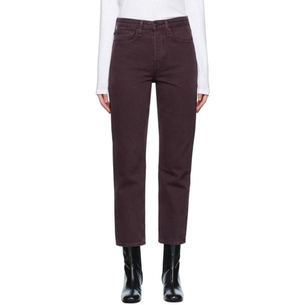 rag and bone Purple Maya High-Rise Slim Jeans in plum