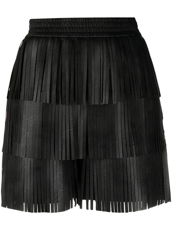 Philosophy Di Lorenzo Serafini fringed faux-leather shorts in black