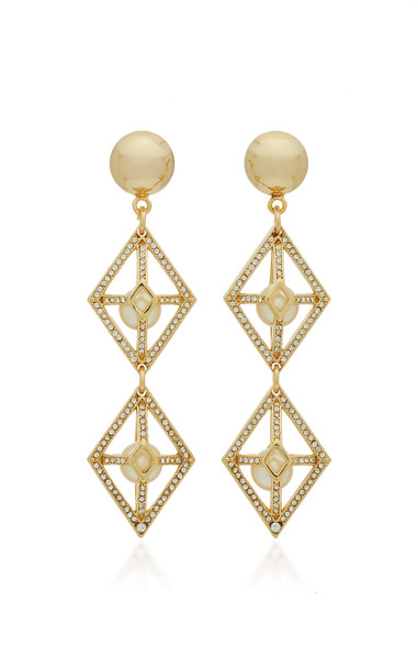 Lulu Frost Enigma Brass And Crystal Statement Earrings